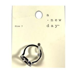 A New Day Ring Silver Color Open Circle Crystals